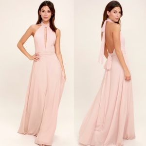 Lulus First Comes Love Blush Pink Maxi Dress